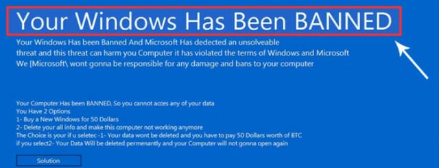 تحذير من نسخة جديدة من فيروسات الفدية تضرب أجهزة الويندوز Your Windows is Banned