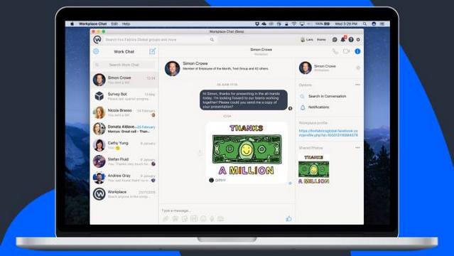 فيس بوك تطلق تطبيق دردشة لاجهزة الكمبيوتر لمكان العمل Workplace