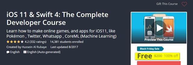 كورس مجانى لفترة محدودة لتعلم برمجة تطبيقات iOS 11