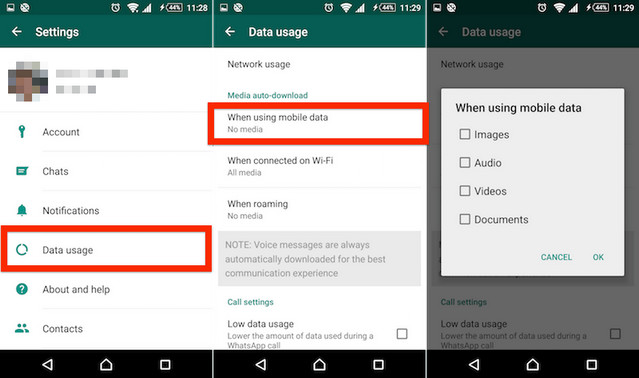 كيفية منع تطبيق الواتساب من إستهلاك بيانات الهاتف Mobile Data